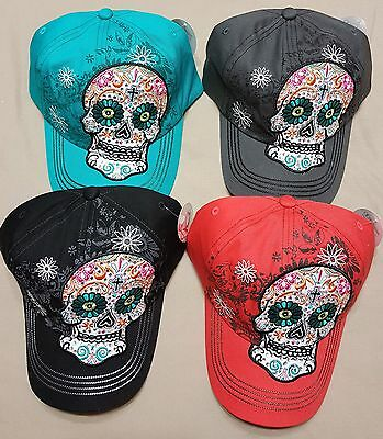 Women's Sugar Skull Rhinestone Adjustable Hat Day of the Dead Embrodiery Bling