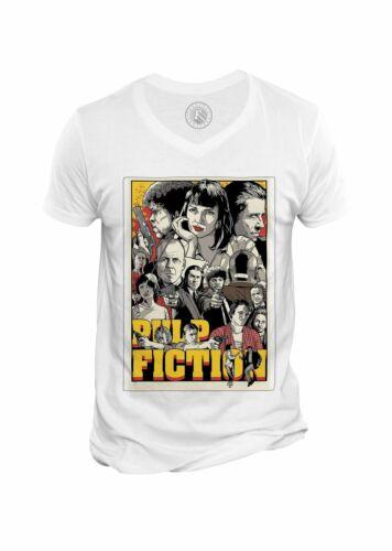 Dessin Pulp Fiction Travolta Truman T-shirt Homme Col V Affiche de Film