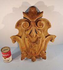 Antique Solid Walnut Carved Wood Furniture  Pediment Crest Crown