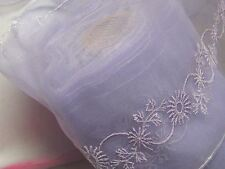 """6"""" Lilac Embroidery on Organza Fabric Insertion Lace Fabric 3 yds #M15"""