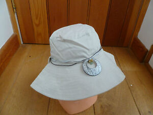 MONSOON ACCESSORIZE STONE BEIGE MOTHER OF PEARL RIBBON BRIMMED SUNHAT BNWT