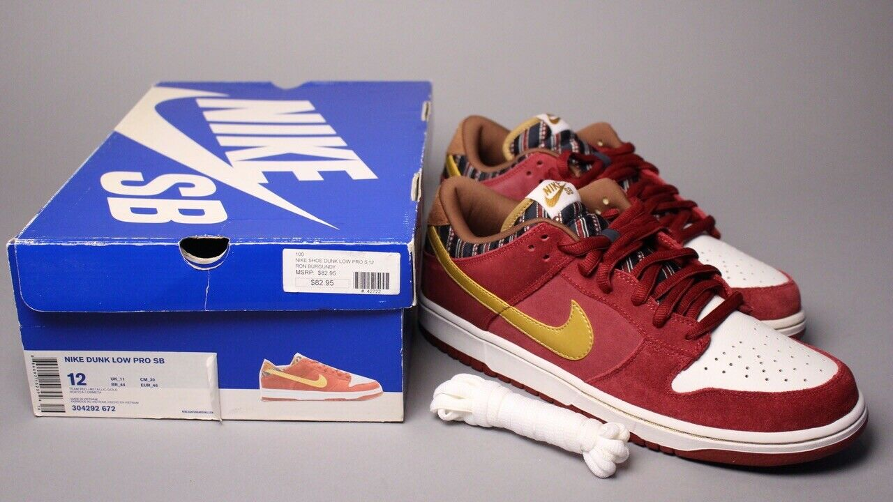 6f7937c1de79 Nike Dunk Low Pro SB Anchorman Team Red gold gold gold Size 12 Ron Burgundy  Lobster