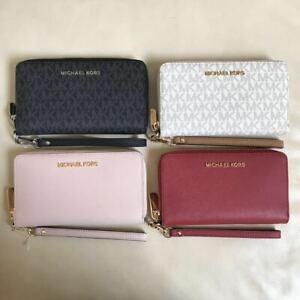799aa20857bb75 NEW Michael Kors Jet Set Zip Around Phone Case Wallet Wristlet ...