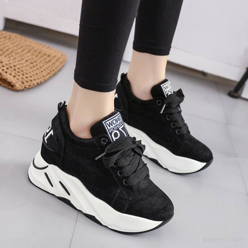 Ladies Lace up High Platform Round Toe Athletic Sneakers shoes Trainers shoes