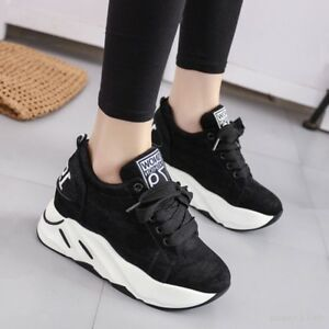 da9fd27b3b Women's Lace up Sports Platform Round Toe Athletic Sneakers Shoes ...