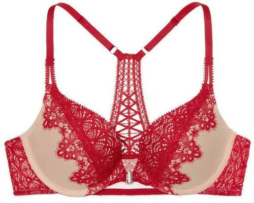 VICTORIA/'S SECRET Dream Angels Push-Up Front-Close Bra Vibrant Red Size 34D NEW