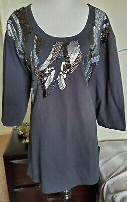 Denim  24//7 Women/'s Plus Size 2X 26//28 Button Down Shirt Long Sleeve Tunic  New