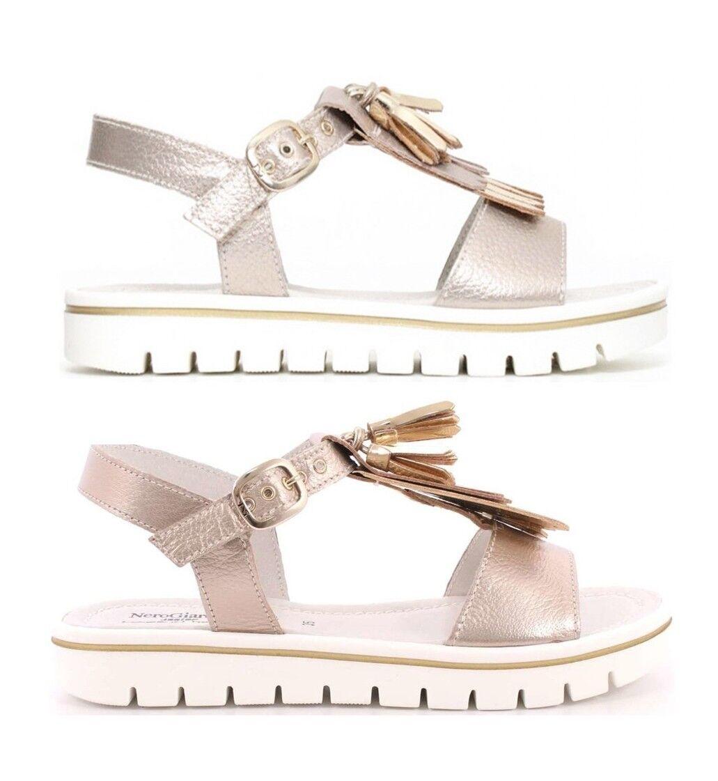 schwarz Giardini Teen P830400F Damen Schuhe Mädchen Sandale Offen Leder Keilabsatz