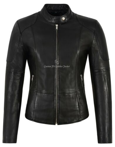 Ladies Real Leather Jacket Black Napa Slim Fit Classic fashion Biker Style 1452