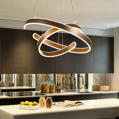 Modern Chandeliers LED Lamps Living Room Circle Ring Dimmable Pendant Light  Bed | eBay