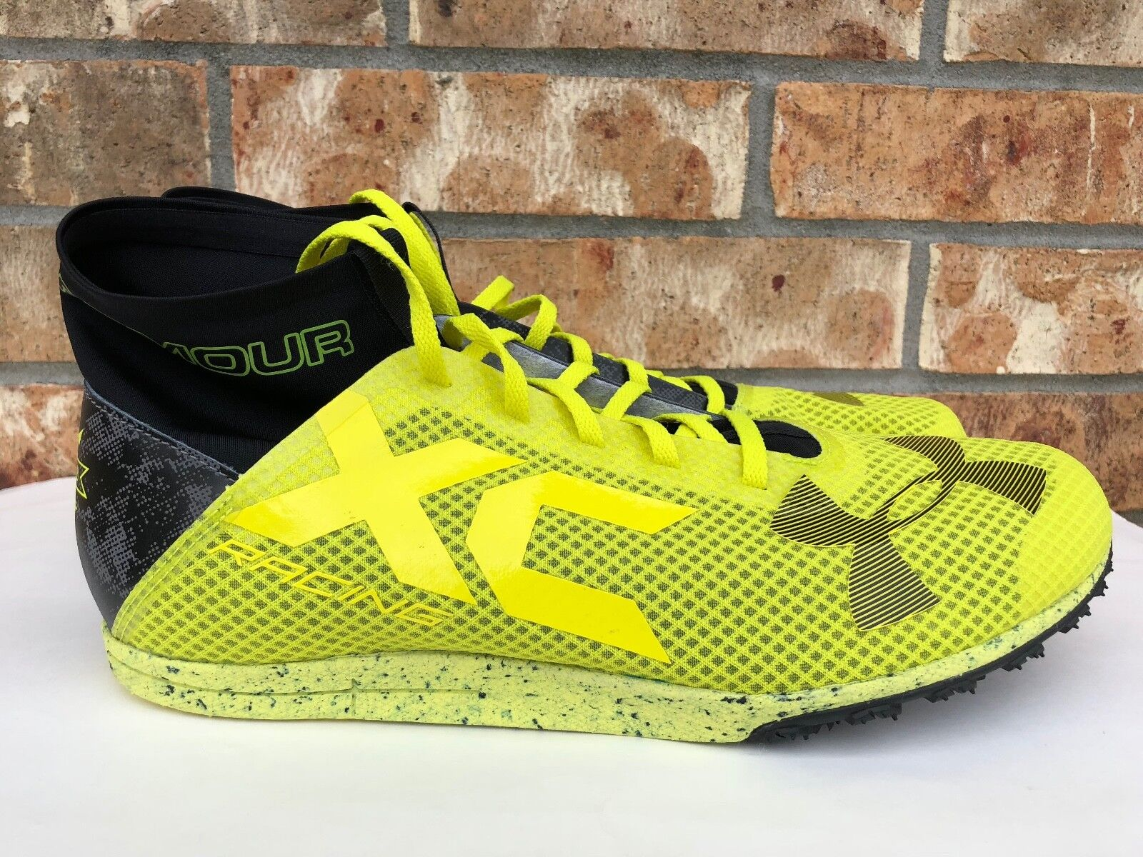 Men's Under Armour Bandit XC Spike Track Shoes Flash Yellow Black 1273938-738