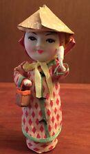 "Vintage Asian Girl 6.5"" Paper Mache Doll Coolie Hat"