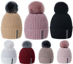 Women-Winter-Beanie-Hat-Knitted-Pom-Pom-Ladies-Crystals-Worm-Fleece-Lining-Ski