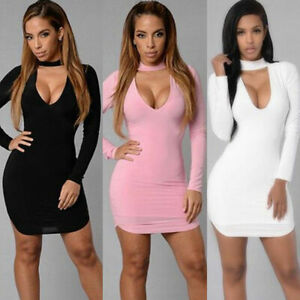 Fashion-Women-s-039-Long-Sleeve-V-Neck-Bodycon-Party-Cocktail-Mini-Dress-Sexy-Dress