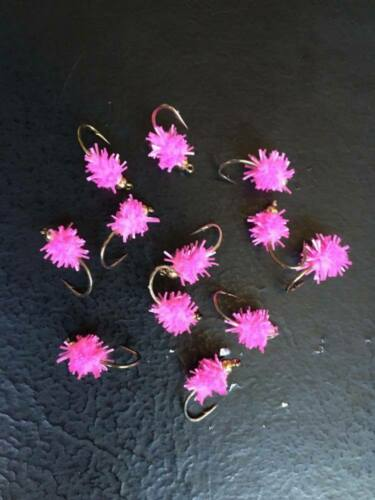 3 X FNF GOLD HEAD HOT PINK JUMBO CHEWING GUM EGG FLY FISHING TROUT FLIES