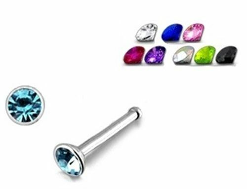 Crystal Nose Stud Surgical Steel 8mm nose piercing Various Coloured Crystals