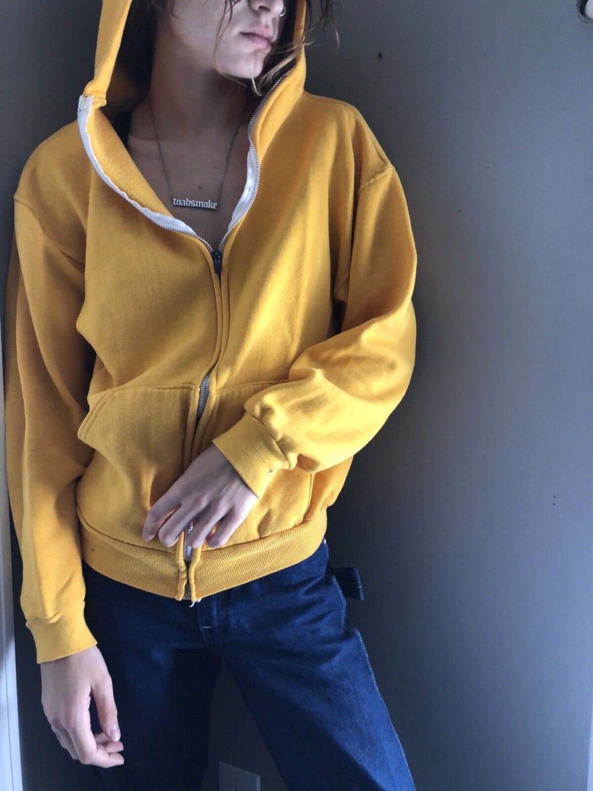 Vtg 70's 80's Russell Athletic Yellow Zip up Hood… - image 1