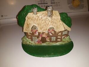Old Vintage Hand Painted Cast Iron Double Chimney House Cottage Home Door Stop