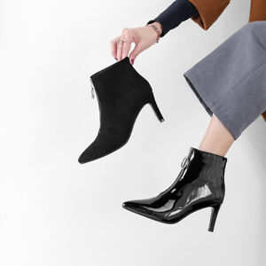 Black-Suede-Fabric-Patent-Leather-Pointed-Toe-Shoes-High-Heel-Zip-Up-Ankle-Boots