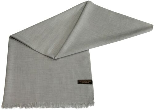 CJ Apparel Silver Grey Fringe Solid Colour Design Shawl Pashmina Seconds **NEW**