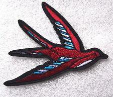 Hummingbird Bird Patch Embroidered Iron Sew On Rockabilly  Badge Motif Biker