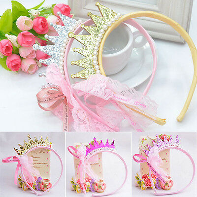 Baby Girls Pearls Resin Diamond Lace Bow Ribbon Crown Princess Hair Accessories