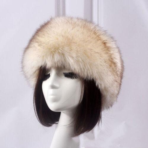 Women Russian Thick Fluffy Cap Fake FAUX For Headband Has Winter Ear Warmer Ski