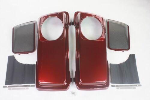 "Hot red sunglo color ABS 6*9 speaker lids for harley 4.0/"" saddlebags 1993-2013"