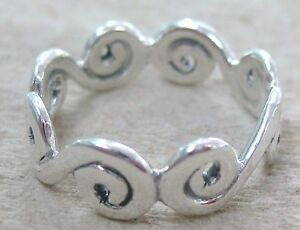 NEW-925-STERLING-SILVER-Plain-OCEAN-WAVES-continuous-ring-women-teen-boy-I-K-N-R