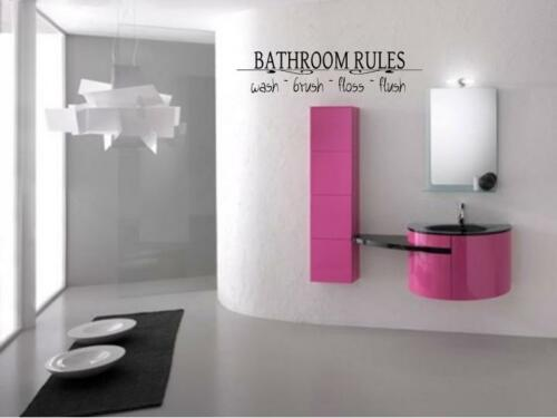 BATHROOM RULES Vinyl Wall Art Decal Words Lettering Sticker Home Decor 24/""