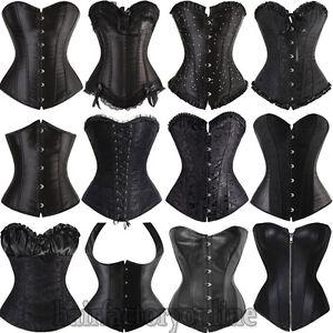 Sexy-Black-Corset-Burlesque-Basque-Lingerie-Fancy-Rouge-Boned-Lace-up-UK-6-24