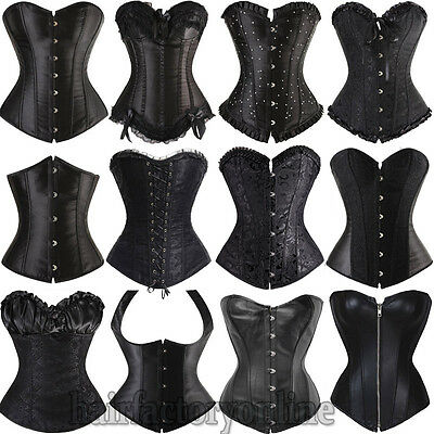 Sexy Black Corset Burlesque Basque Lingerie Fancy Rouge Boned Lace up UK 6-24