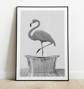 Flamingo in Bath Art Print, Black and White Flamingo Poster, Home Decor Wall Art