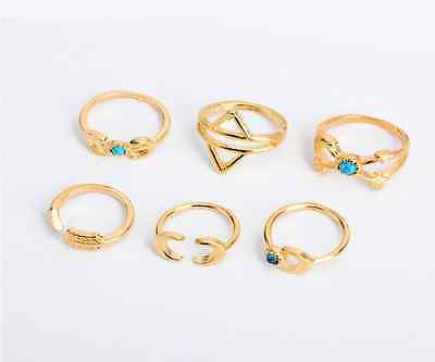 6 Pcs Vintage Turkish Punk Midi Rings Knuckle Finger Ring Set Ethnic Carved Gold