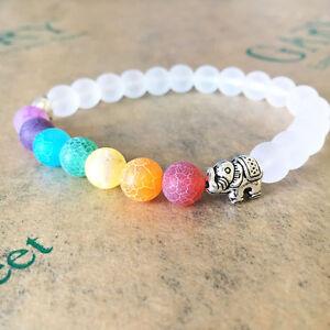 Fashion + Chakra Bracelet 7 WHITE with ELEPHANT CHARM , Healing Bracelet Jewelry