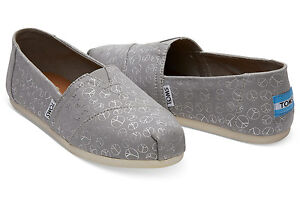 a3873b0fdab TOMS Drizzle Grey Foil Peace Sign Women s Classics Shoes. Style ...