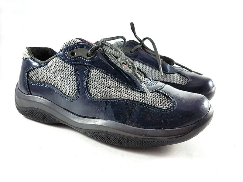 PRADA America's Cup Black Mesh Patent Patent Patent Leather Sneakers Women's shoes Size US (6) 03e778