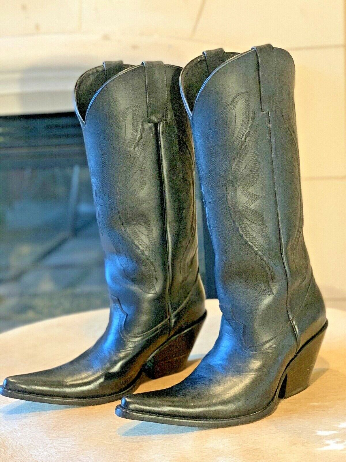 """Mens NEW MIGUEL Mexican 16"""" Tall Pointed Toe 3.5"""" Heel Cowboy Boots, 10D."""