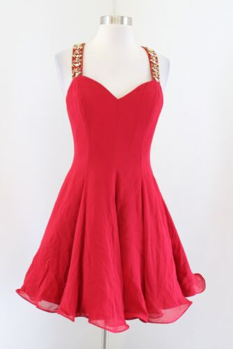 Vtg 90s Niteline Red Silk Fit and Flare Gold Sequi
