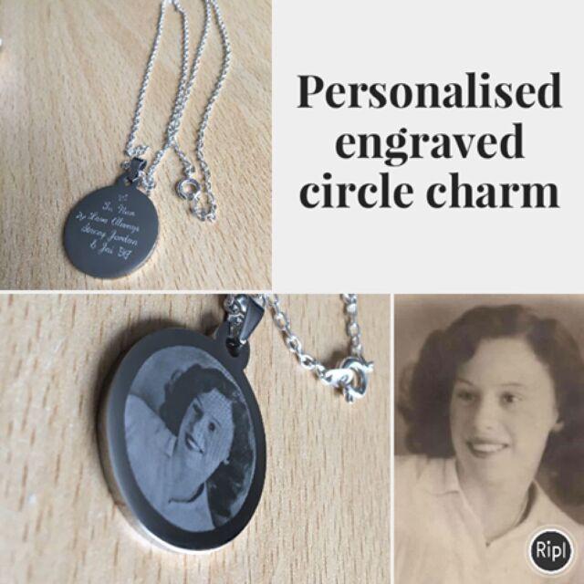 Personalised Photo/Text Engraved Circle Pendant -  Wedding Birthday Gift