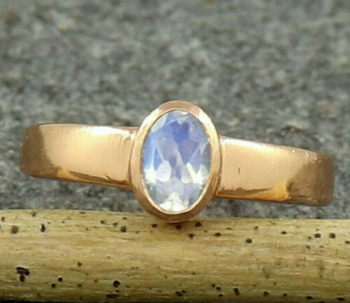 Details about  /Natural Rainbow Moonstone Rose Gold Sterling Silver Christmas Ring US 4 to 15