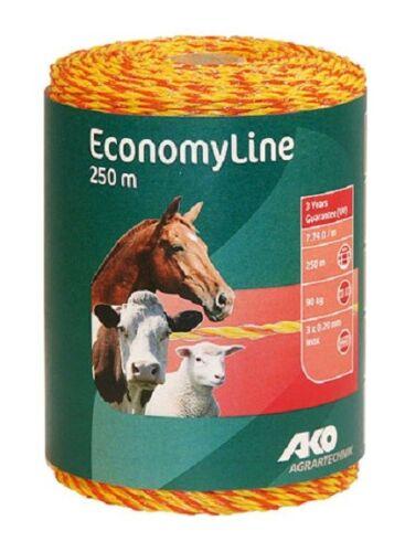 250 m Weidezaunlitze Economyline gelb orange Litze Weidezaun Zaun 441555