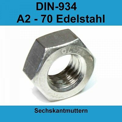 10 St/ück M5 Edelstahl Sechskantmuttern DIN 934 rostfrei A2 V2A