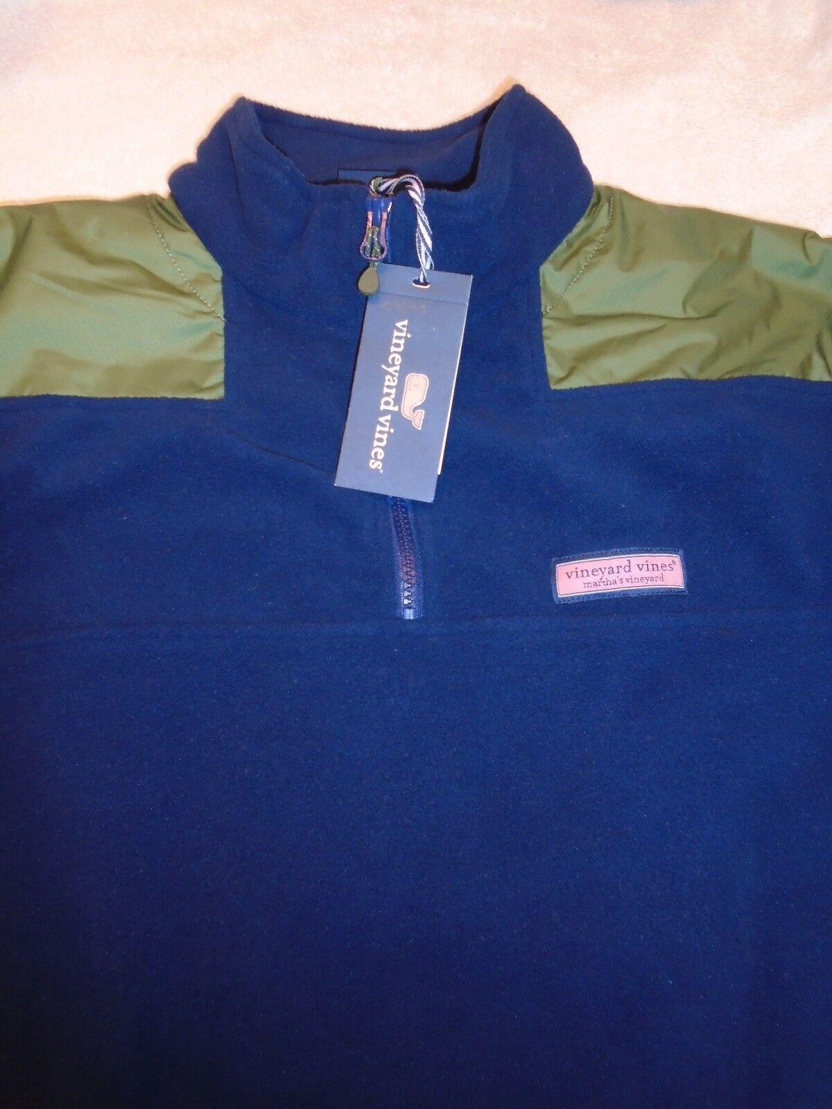 Vineyard vines Quarter Zip Shep Shirt Fleece with Nylon Shoulder NWT Small
