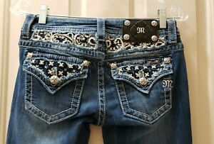 Miss-Me-Signature-Boot-Denim-Jeans-Size-26-Rise-7-5-Waist-Flat-14-5-29X33-5
