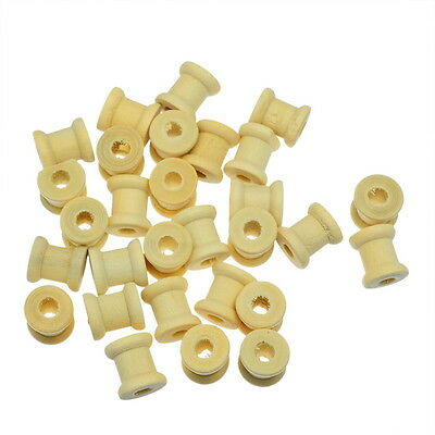 100PCs Natural Cylinder Wooden Spools 14mm x12.6mm New
