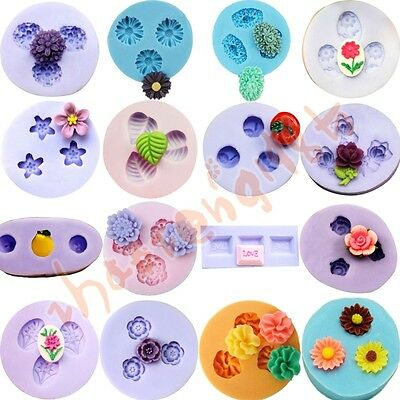 16 kinds Flower Silicone Mould for Polymer Clay Candy Chocolat Cake Decorating
