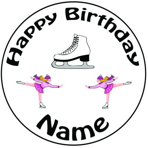 Ice Skating Mix Personalised Pre-Cut Edible Birthday Cupcake Toppers Decorations