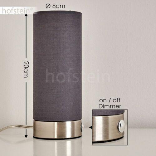 2er Set LED Nacht Tisch Lampen Stoff grau Wohn Schlaf Zimmer Leuchte Touchdimmer