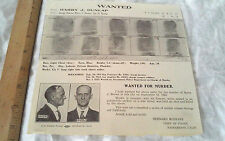 OLD 1923 WANTED for Murder POSTER circular bulletin Sacramento Police Department